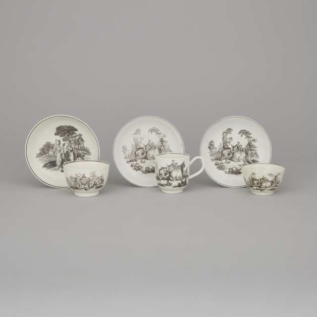 Two Worcester Black Printed 'L'Amour' and 'Milkmaids' Pattern Tea Bowls and a 'L'Amour' Coffee Cup with Saucers, Robert Hancock, c.1760