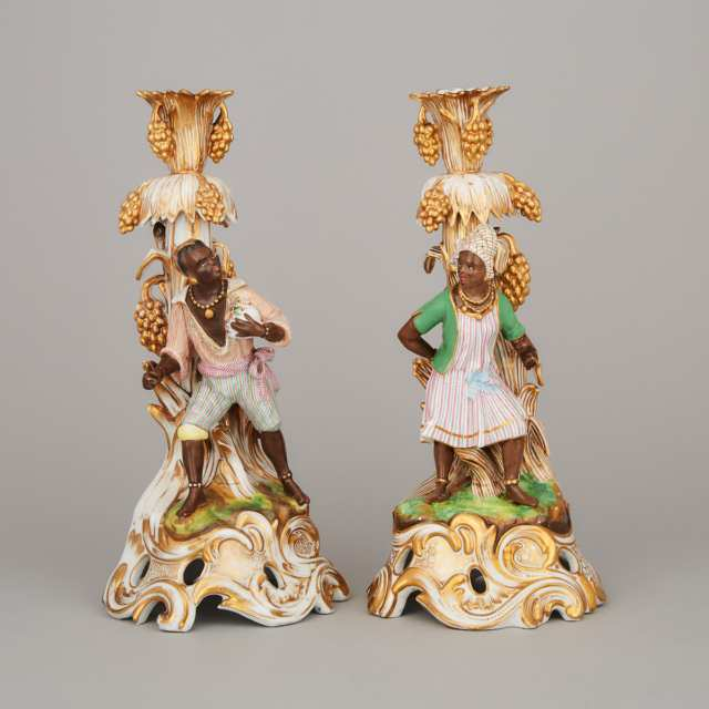 Pair of Jacob Petit Nubian Figural Candlesticks, mid-19th century