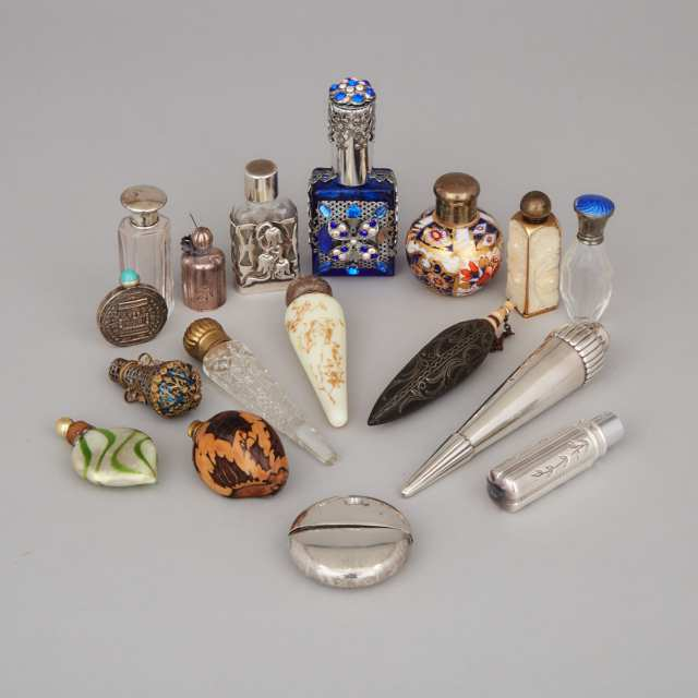 Group of Sixteen Various Silver, Glass and Other Scent Bottles and Phials, late 19th/20th century