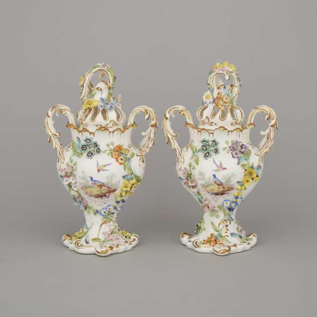 Pair of Coalbrookdale Flower-Encrusted Two-Handled Potpourri Vases and Covers, mid-19th century