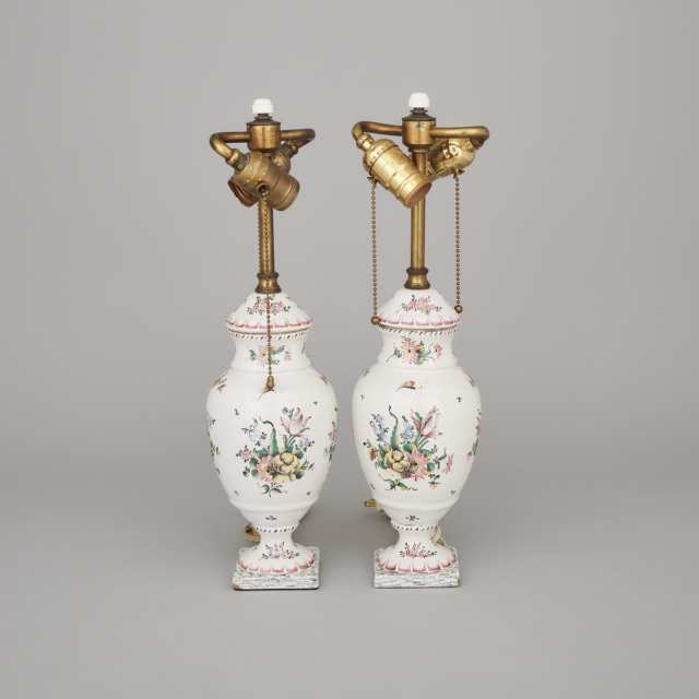 Pair of French Faience Table Lamps, 19th/20th century