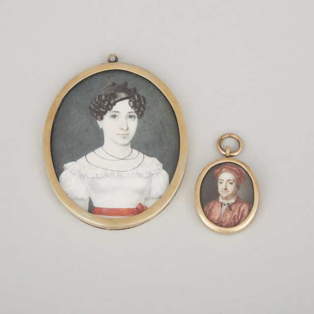Two Portrait Miniatures on Ivory, 18th and 19th century