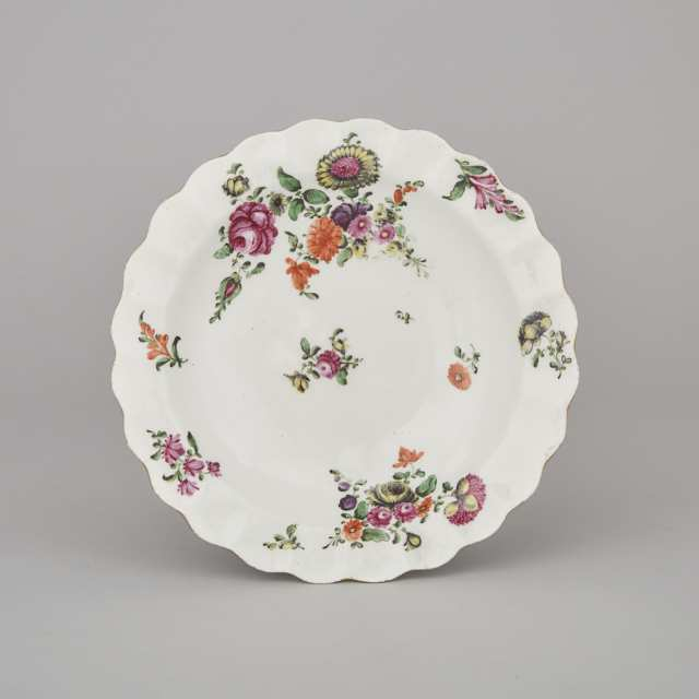 Worcester Polychrome Decorated Scalloped Plate, c.1770