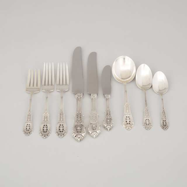 American Silver 'Rosepoint' Pattern Flatware, Wallace Silversmiths, Wallingford, Ct., 20th century