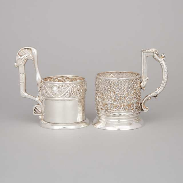 Two Russian Silver Tea Glass Holders, Moscow, c.1908-17