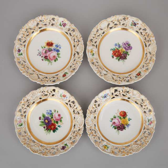 Four Vienna Flower-Painted and Gilt Reticulated Plates, 19th century