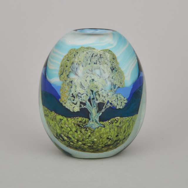 Edward Roman (Canadian, b.1941), Hilltop Trees #1, Internally Decorated Glass Vase, 1981