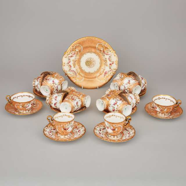 Copeland & Garrett Floral, Decorated Apricot and Gilt Ground Part Tea Service, c.1840