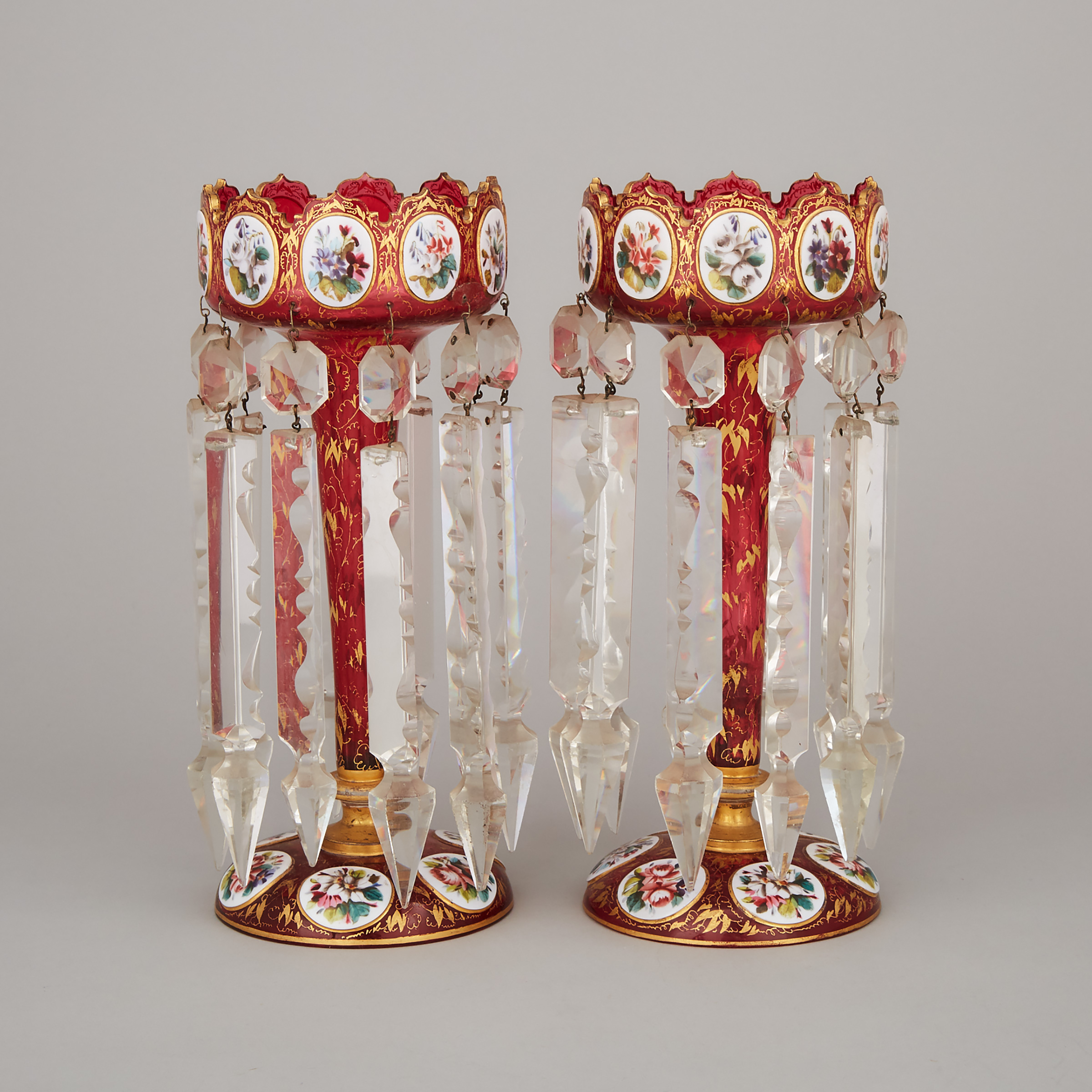 Pair of Bohemian Overlaid, Enameled and Gilt Red Glass Lustres, late 19th century