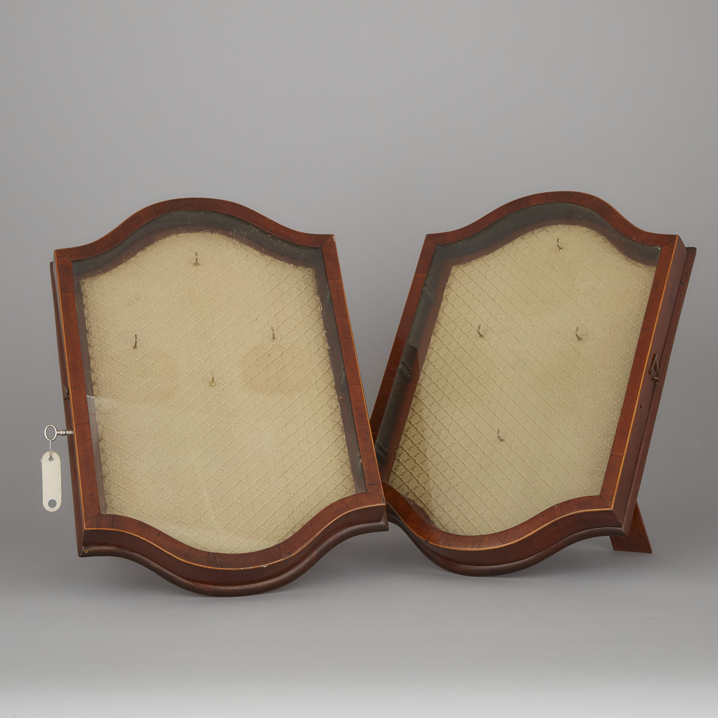 Pair of Edwardian Satinwood Strung Mahogany Table Top Display Cases, ealry 19th century