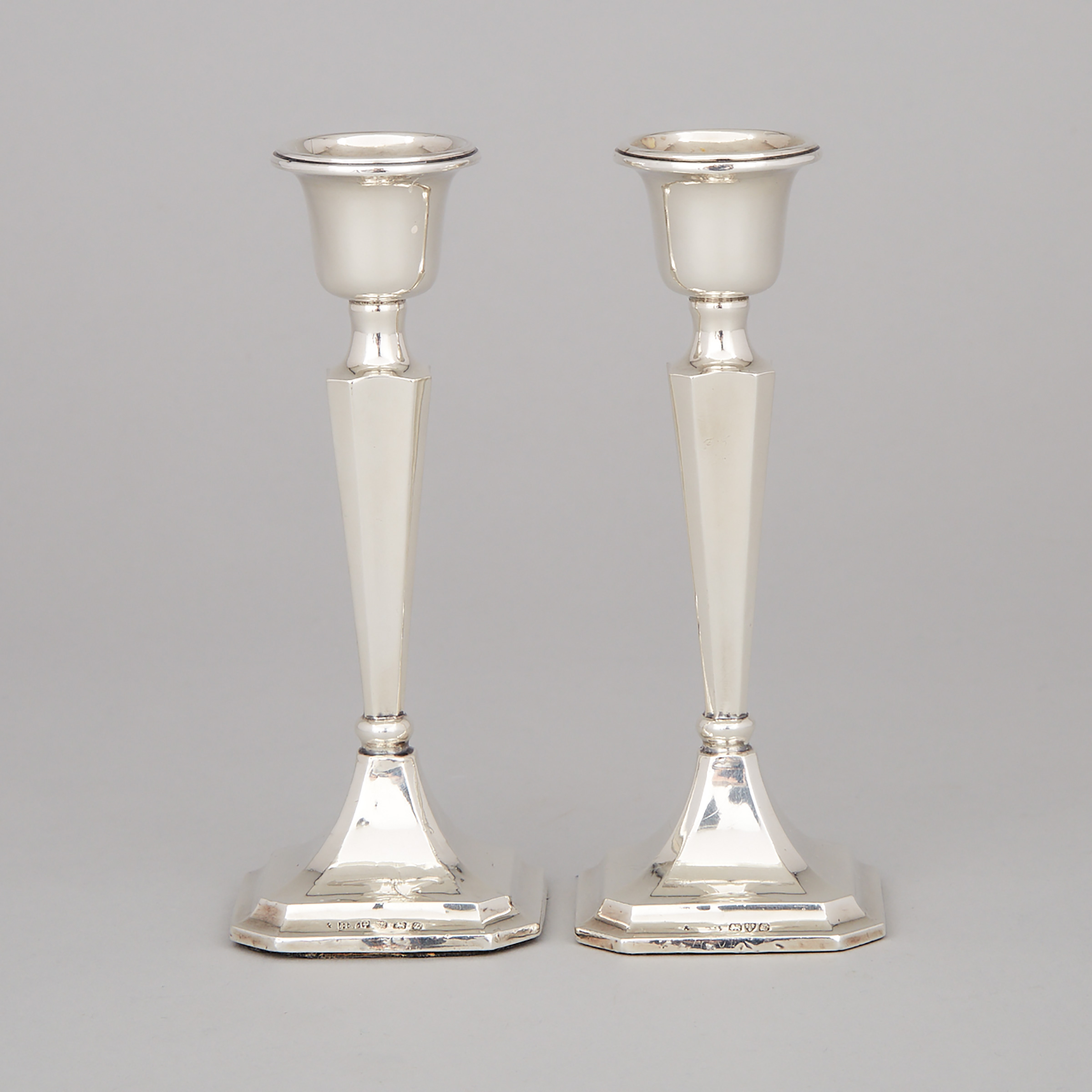 Pair of English Silver Desk Candlesticks, Birmingham, 1924 and Chester, 1925