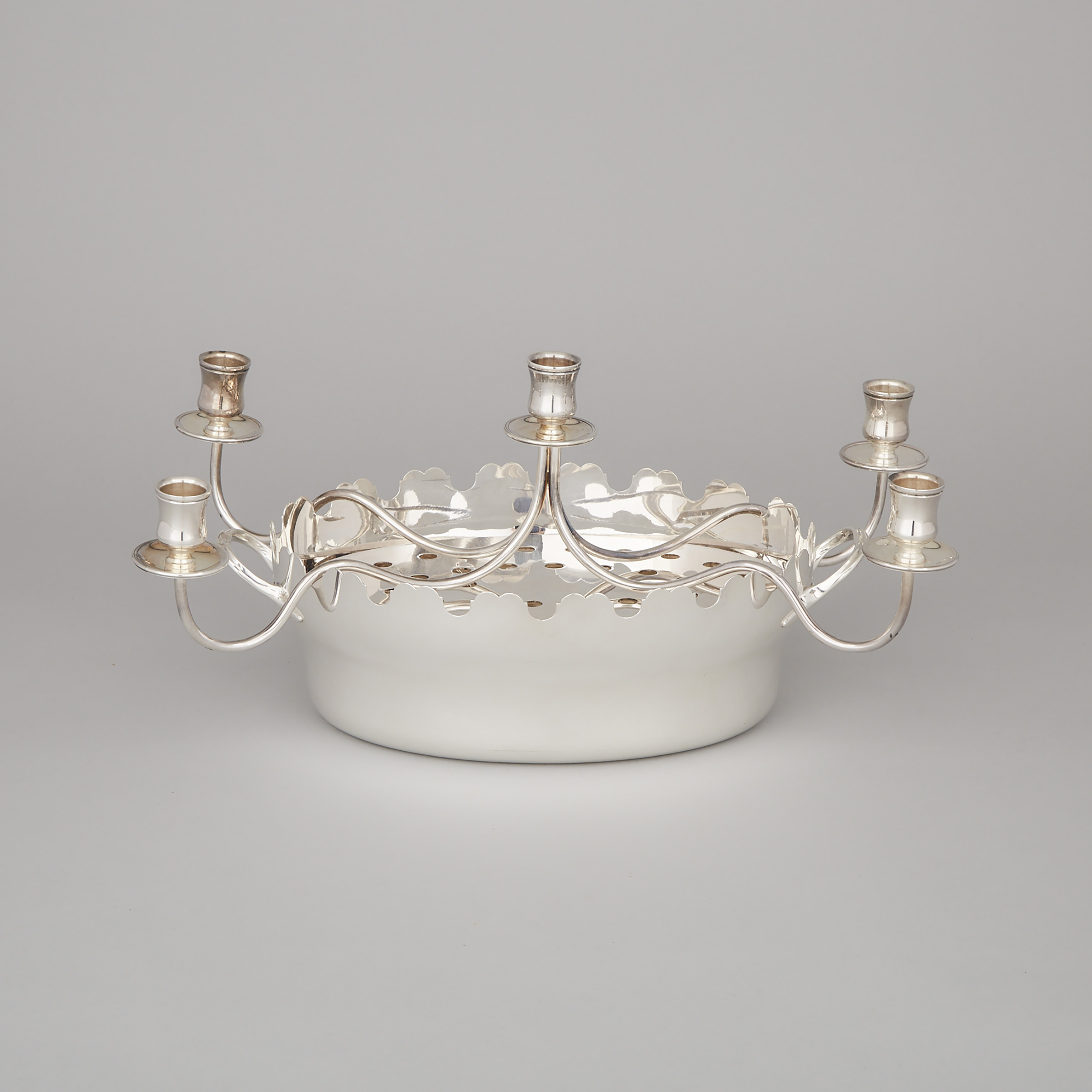 French Silver Plated Centrepiece with Candelabra, 20th century