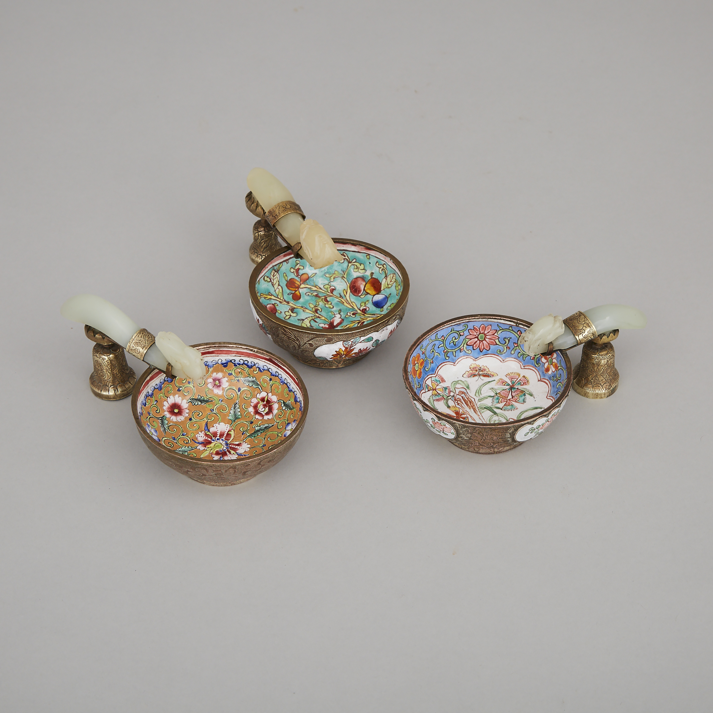 Three Chinese Dragon Head Belt Hook Mounted Canton Enamel Brush Washers, early-mid 20th century
