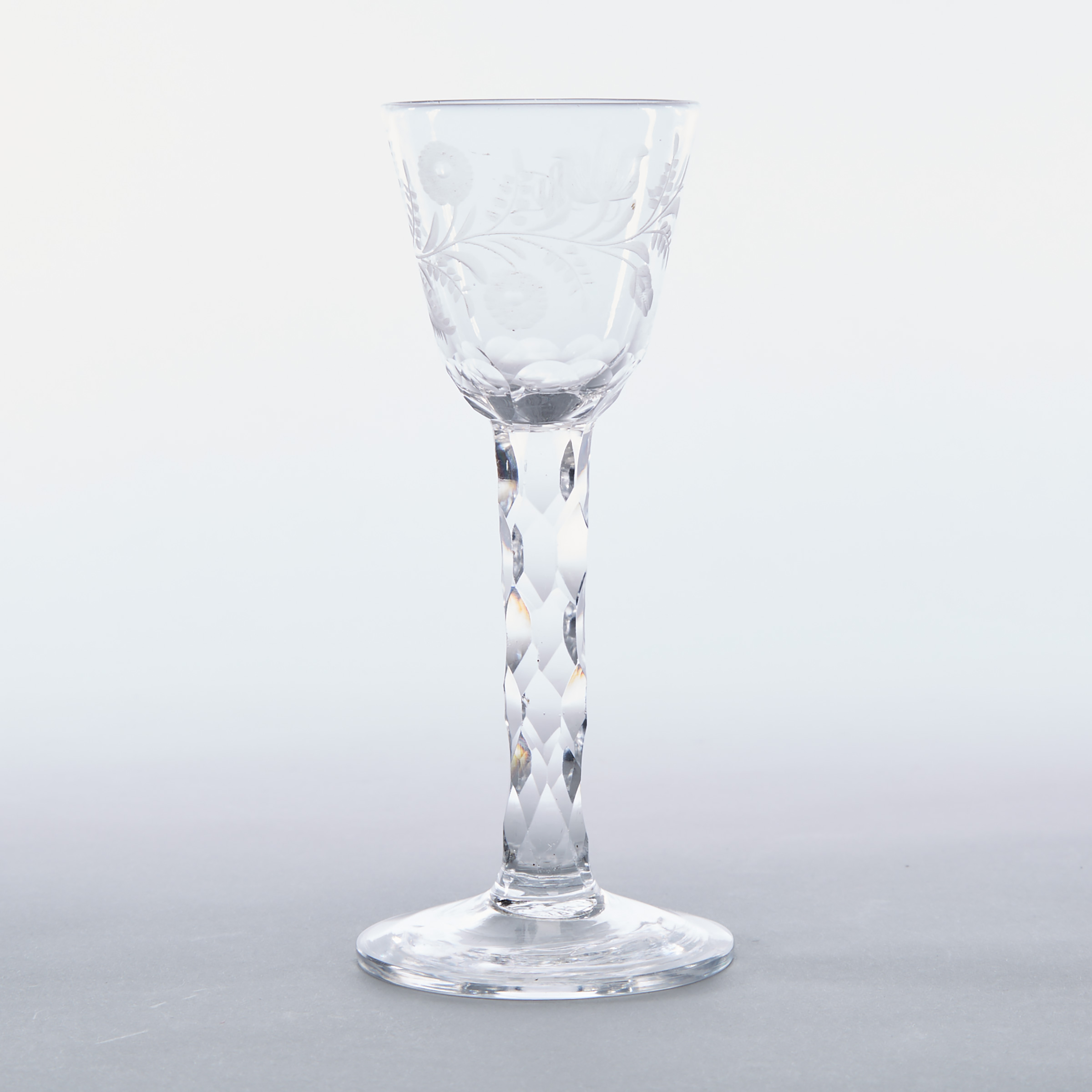 English Engraved Faceted Stemmed Wine Glass, c.1765-80
