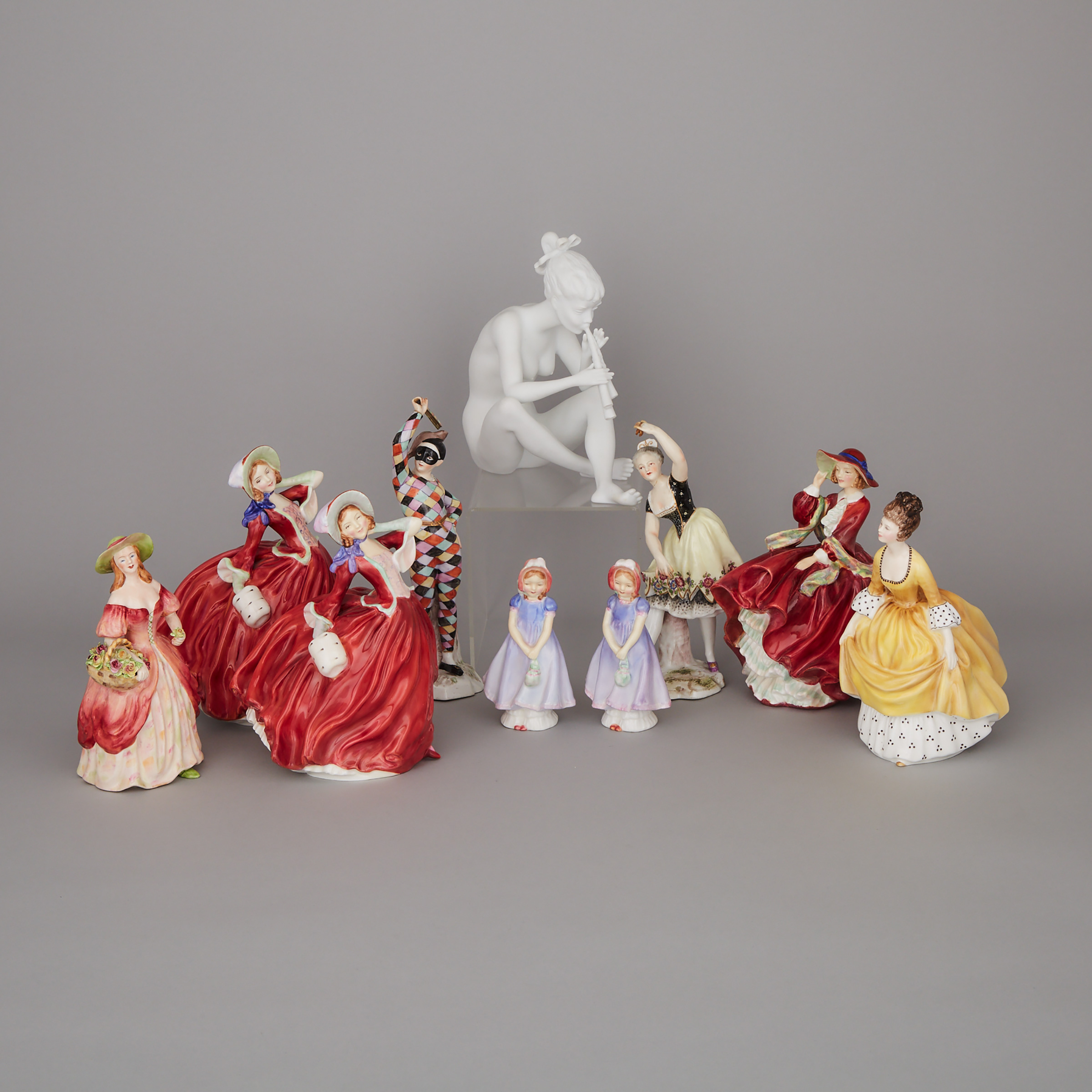 Ten Royal Doulton, Adderley, and Continental Porcelain Figures, 20th century