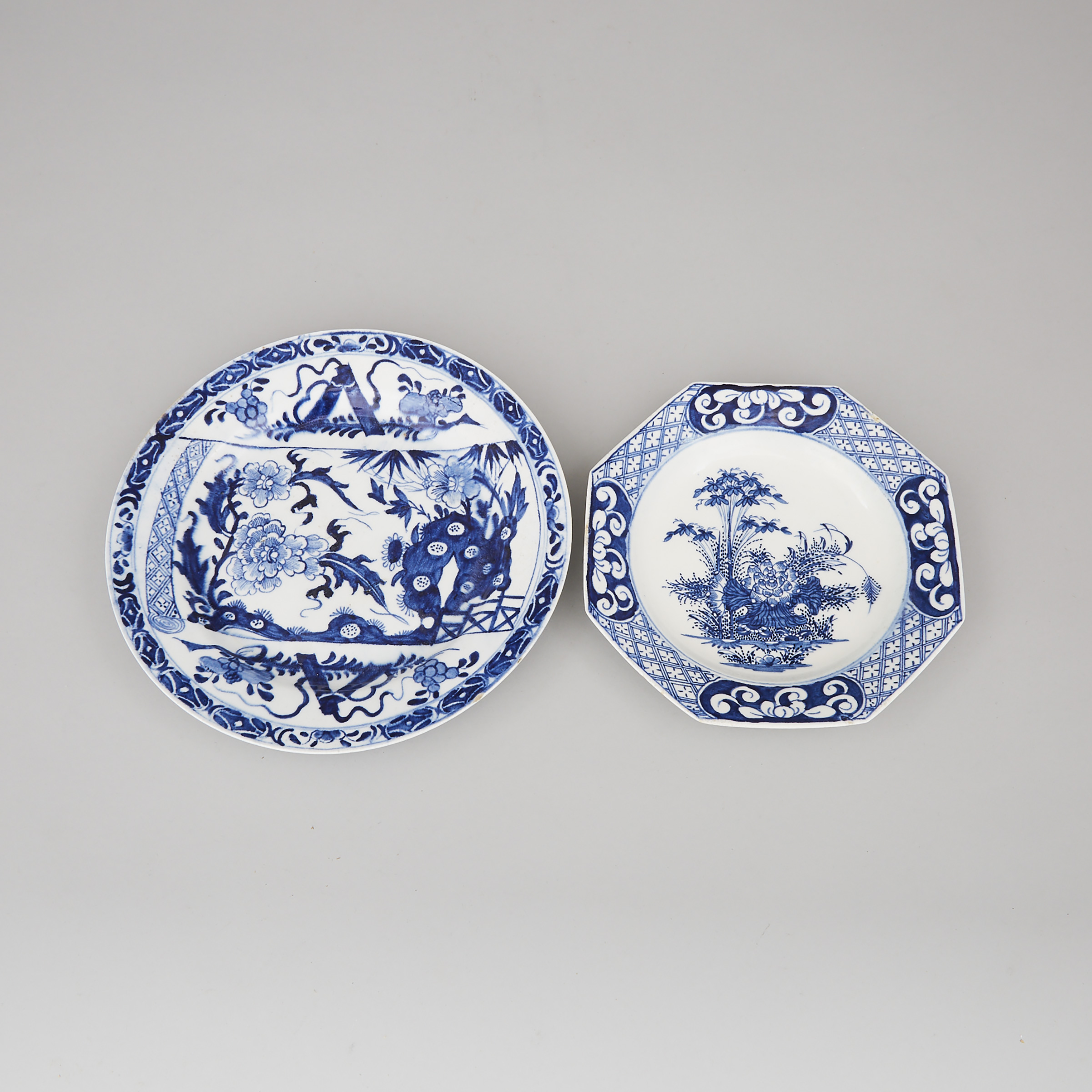 Bow Blue and White Octagonal Dish and a Larger Plate, c.1760