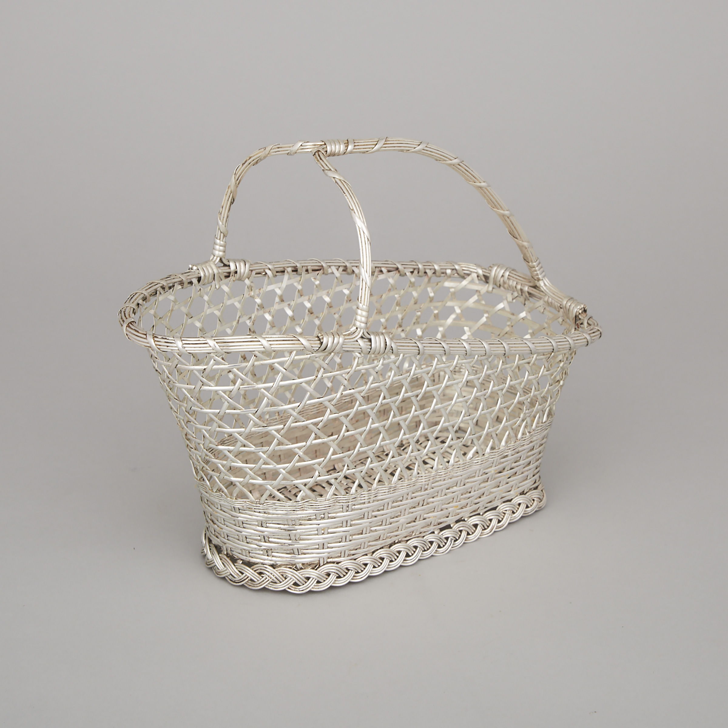 French Silver Plated Woven Wine Basket, Christofle, 20th century