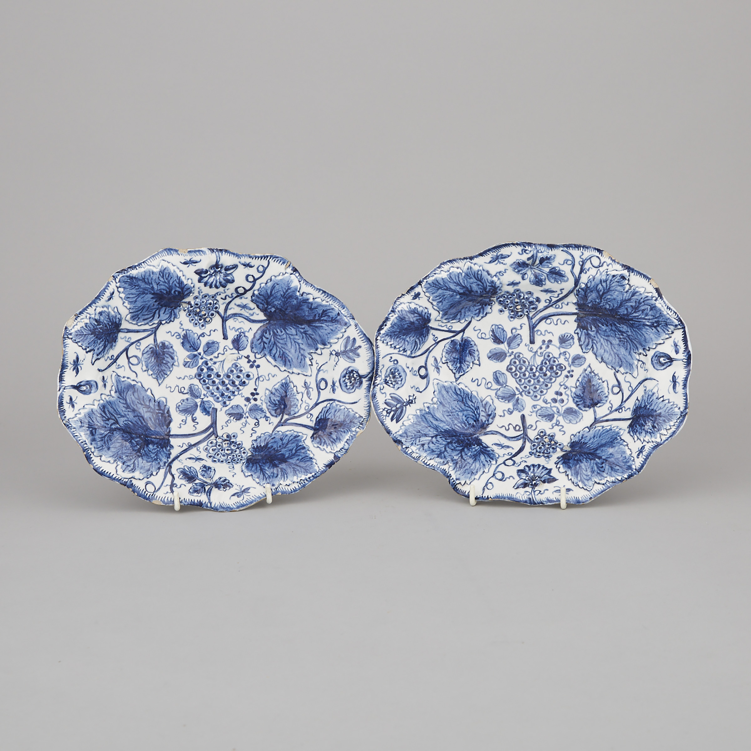 Pair of Bow Blue and White Moulded Oval Dishes, c.1765