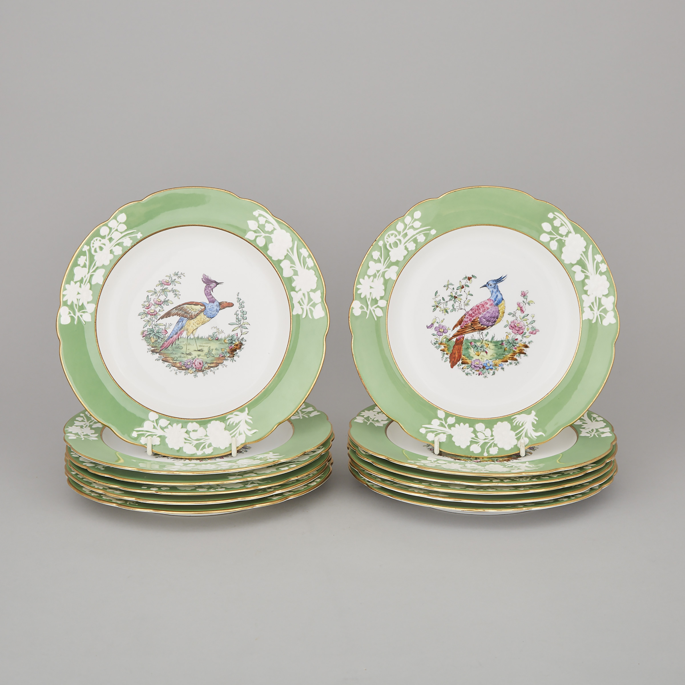 Twelve Copeland Spode Apple Green Banded 'Liverpool Birds' Plates, early 20th century
