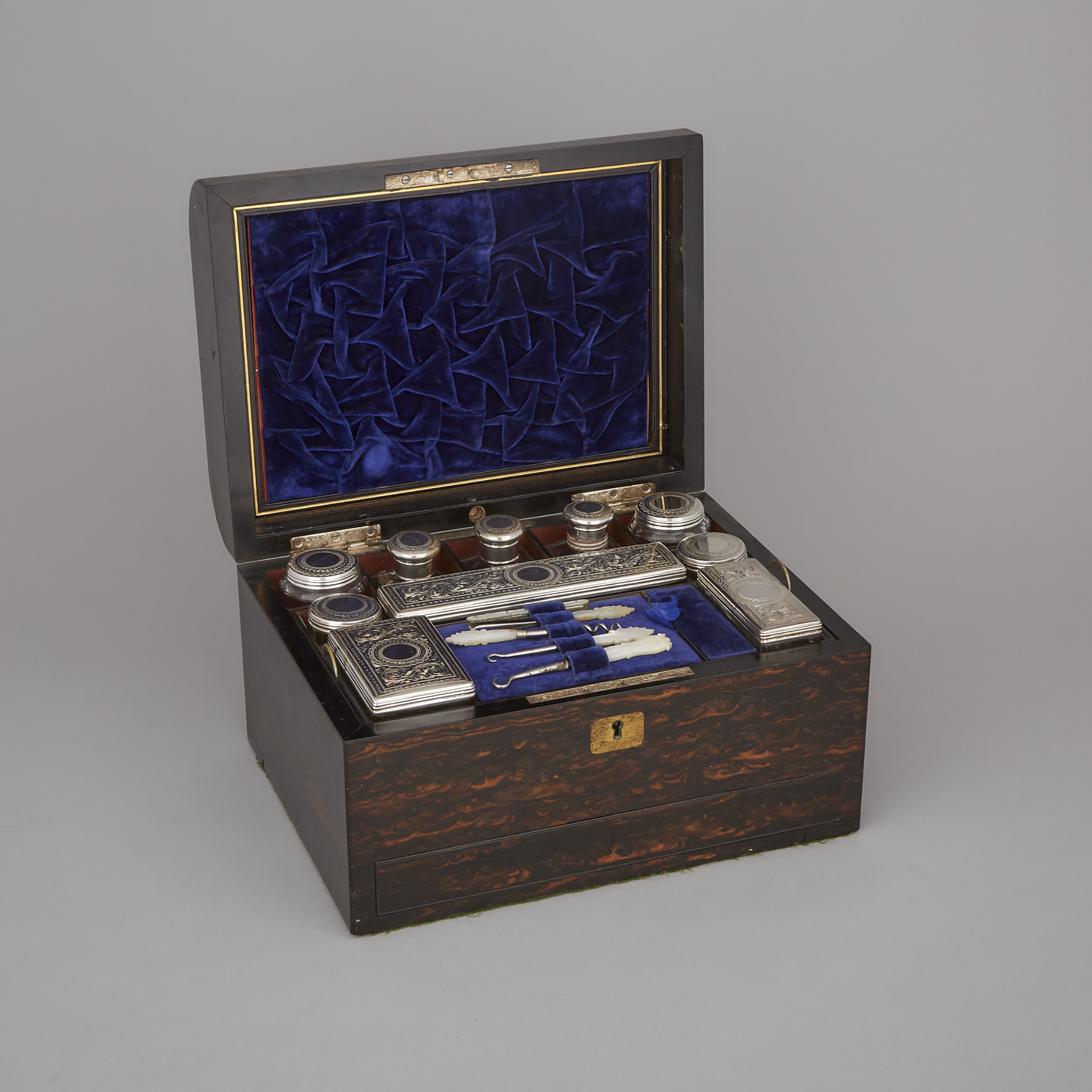 Victorian Silver Mounted Cut Glass Toilet Set, William Neal, London, 1878