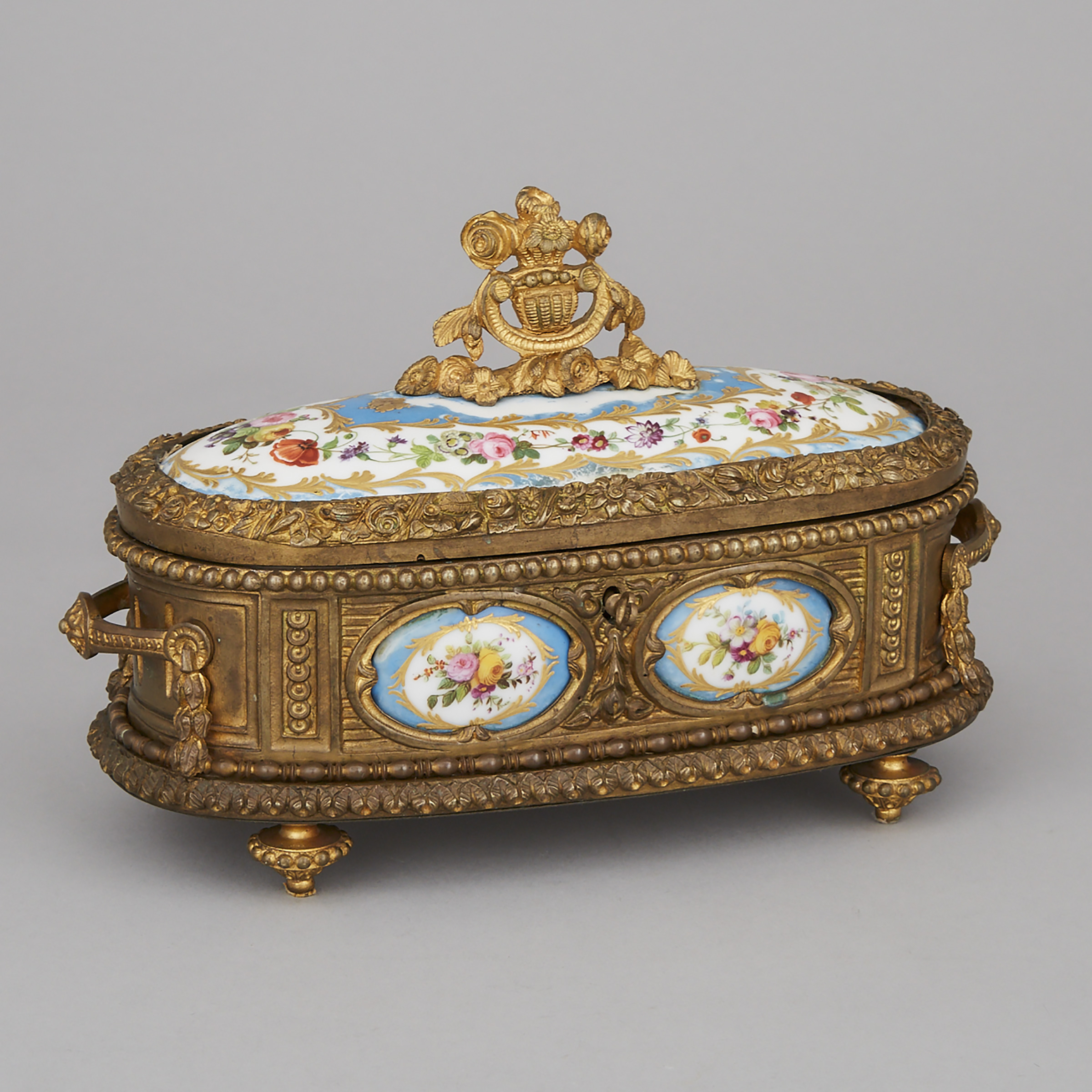 French 'Sèvres' Porcelain Mounted Gilt Bronze Oval Casket, late 19th century