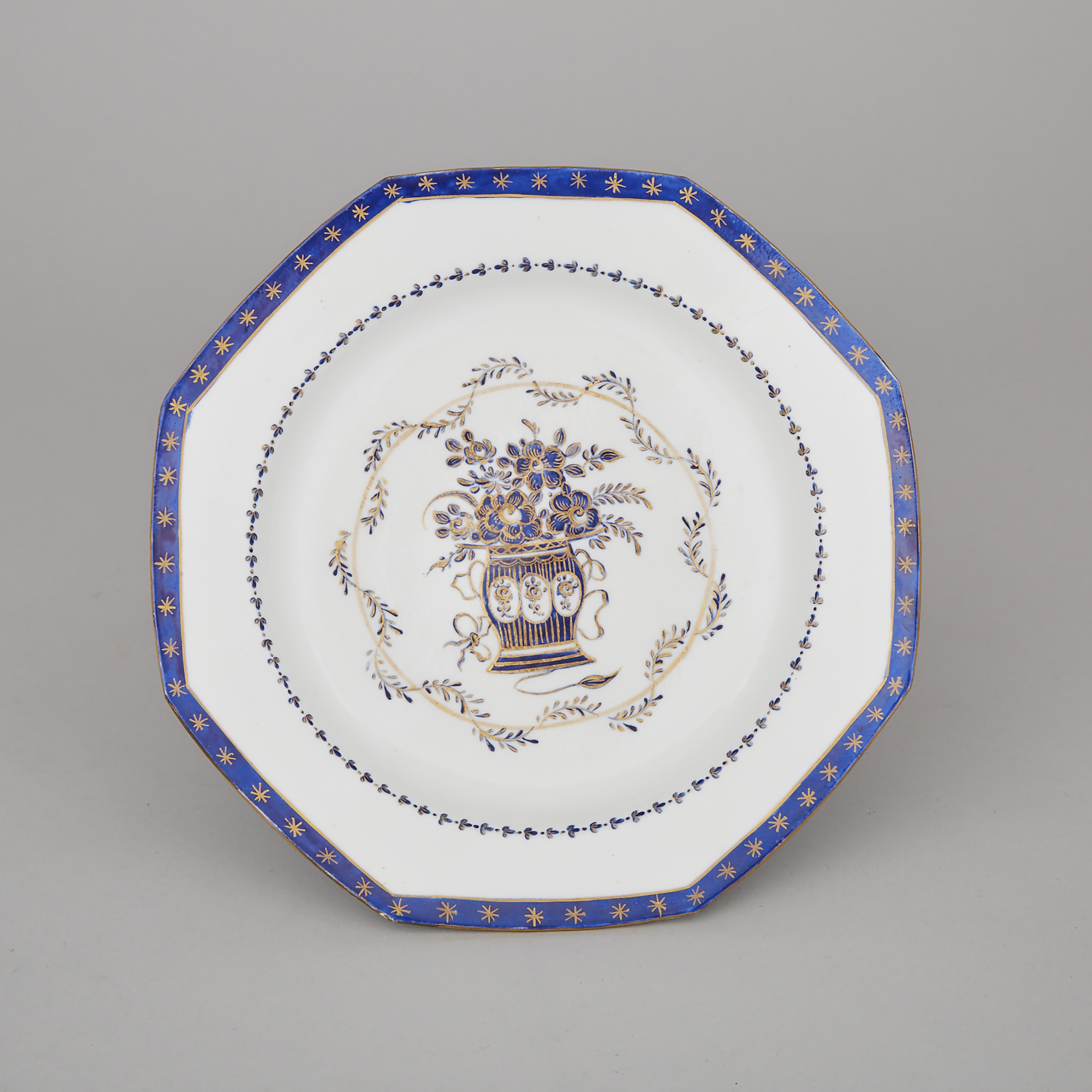 Bow Cobalt Blue and Gilt Decorated Octagonal Plate, c.1760