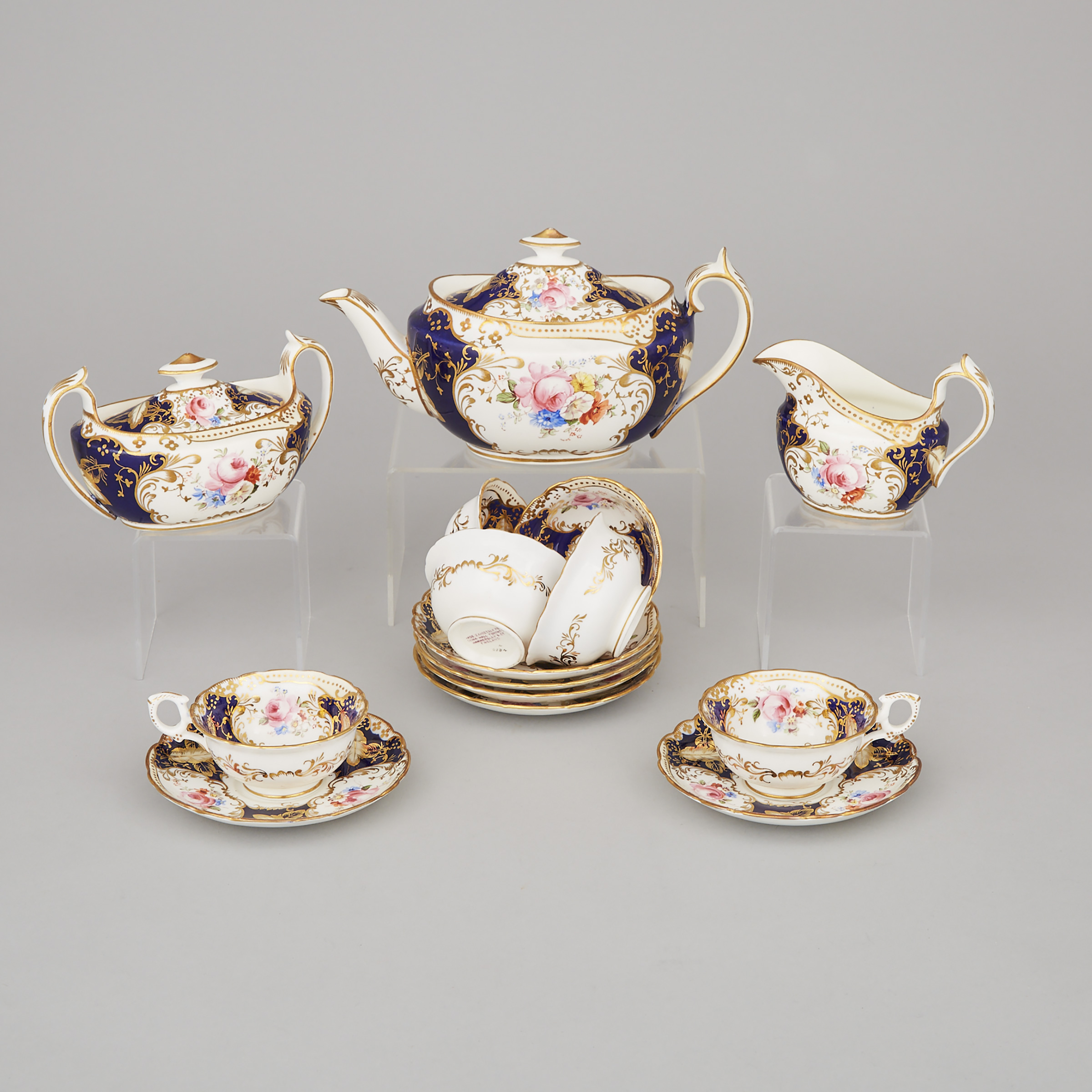 Hammersley Floral Decorated Blue Ground Tea Service, for China Hall, Toronto, 20th century