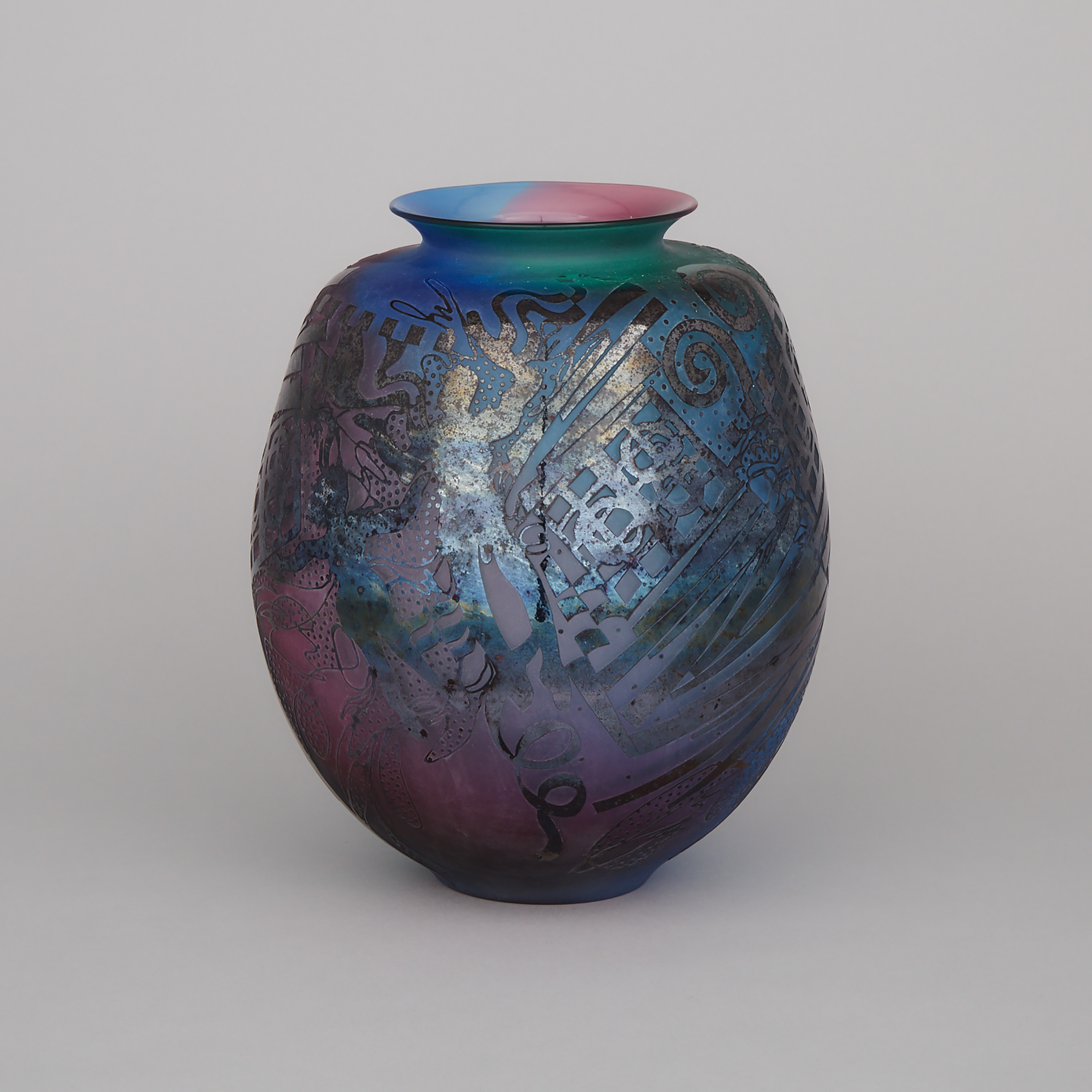 Heather Wood (Canadian, b.1953) and John Kepkiewicz (Canadian, b.1955), 'Division', Acid Etched Glass Vase, 1989