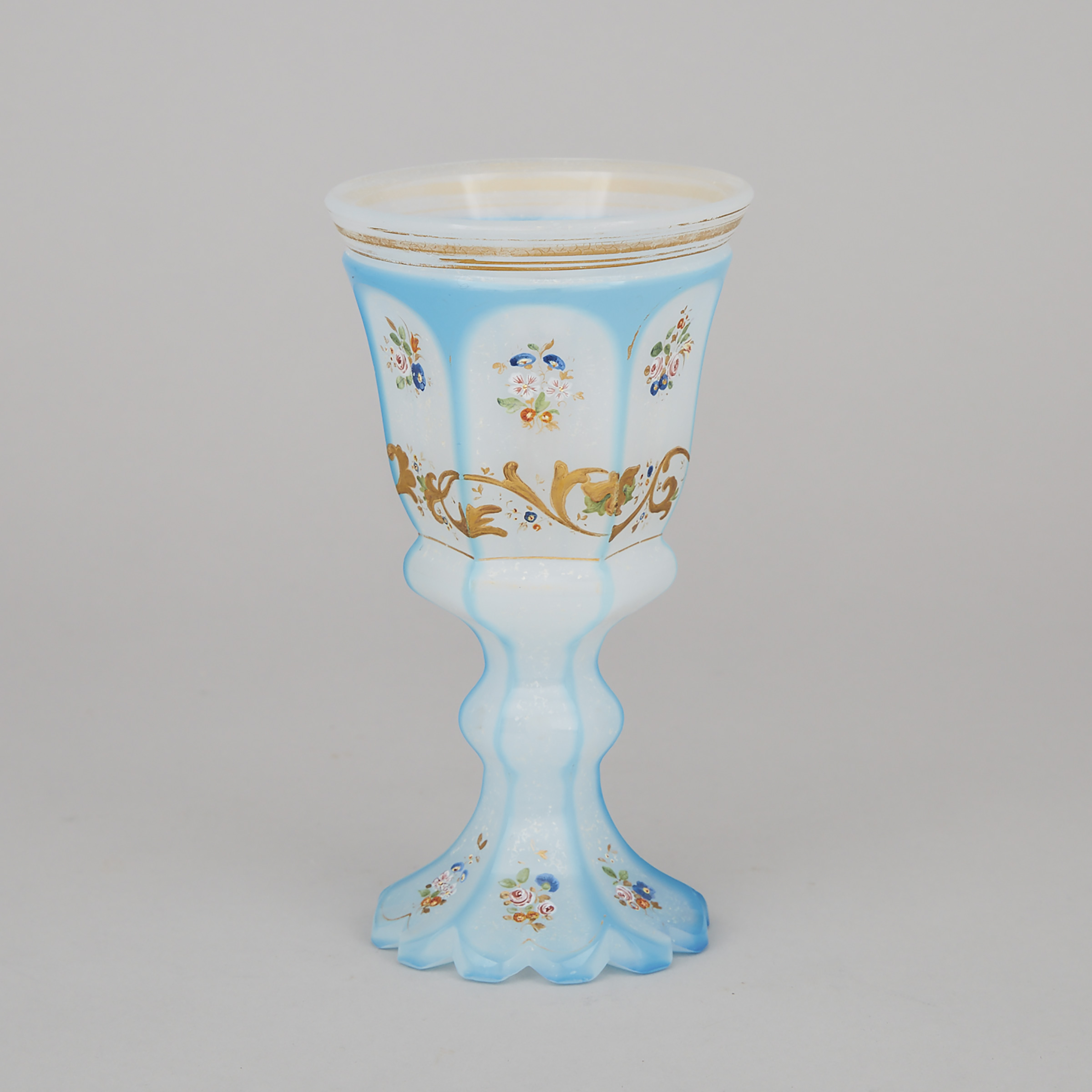 Bohemian Blue Overlaid, Cut, Enameled and Gilt Opaline Glass Goblet, mid-19th century