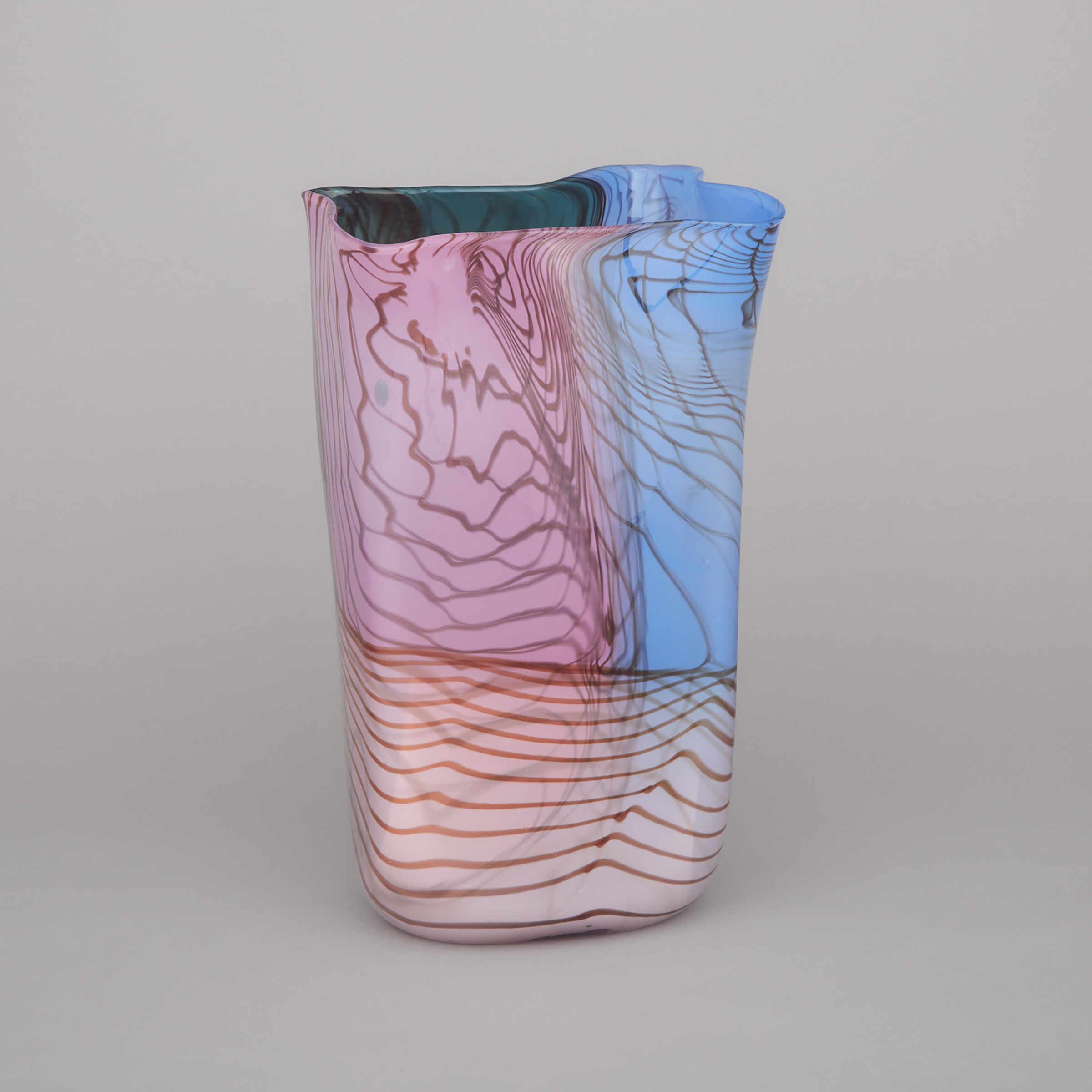 Thomas Philabaum (American, b.1947), Rectangular Glass 'Bag' Vase, 1982