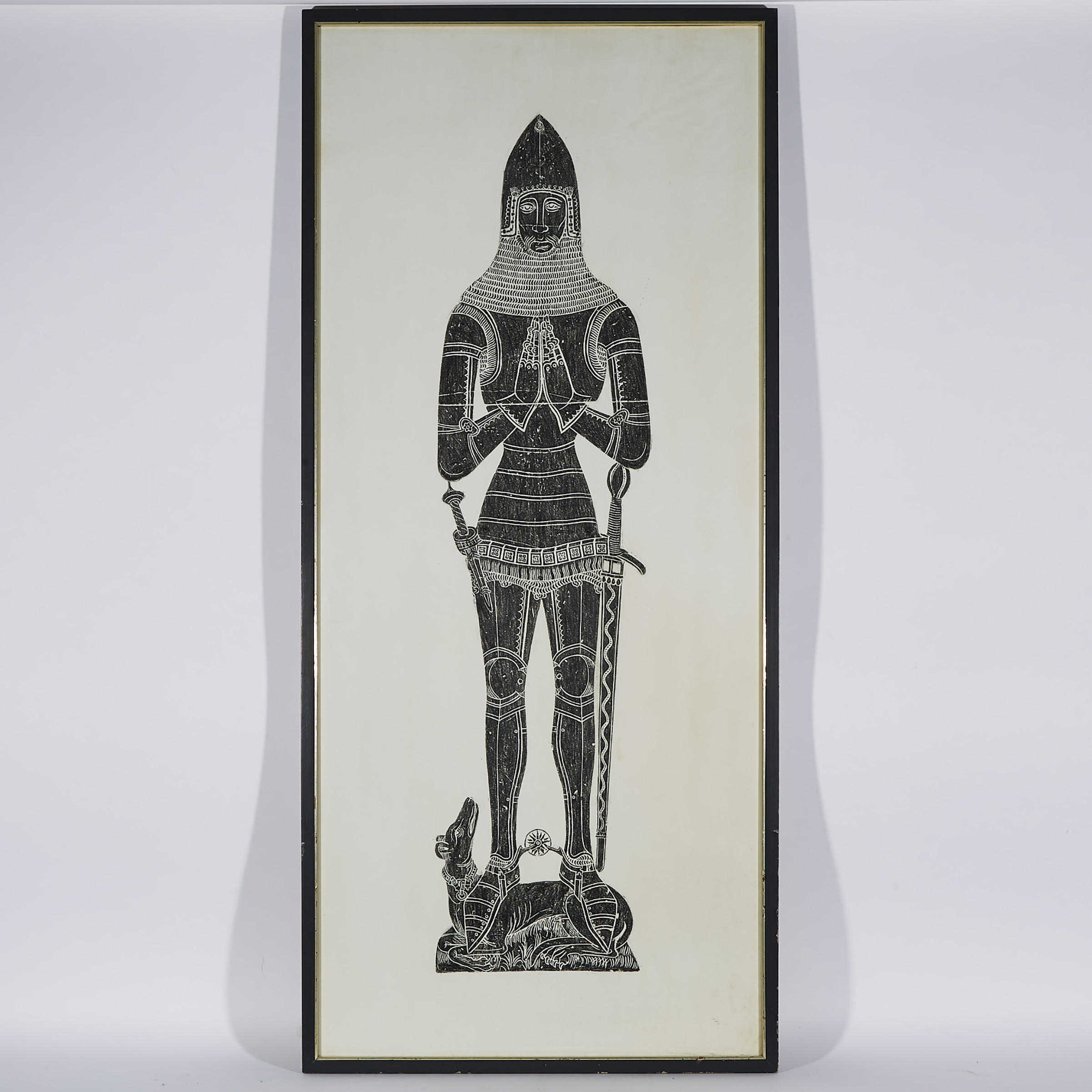 Rubbing of the Medieval Brass Effigy of a Knight in Armour, mid 20th century