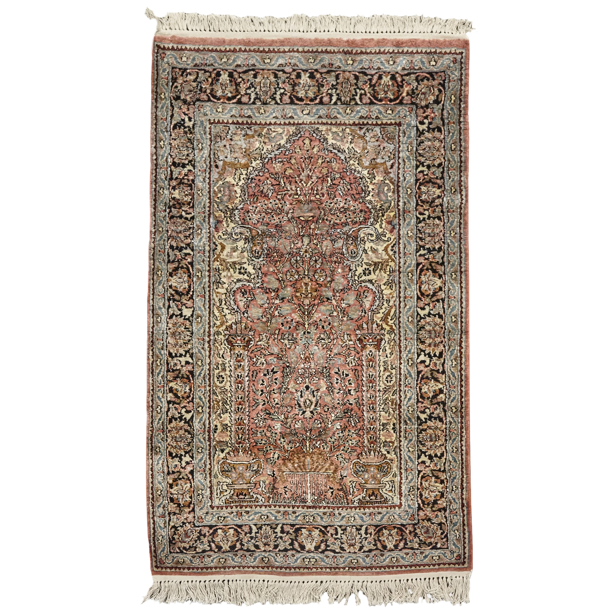 Indo Qum Silk Prayer Rug, late 20th century