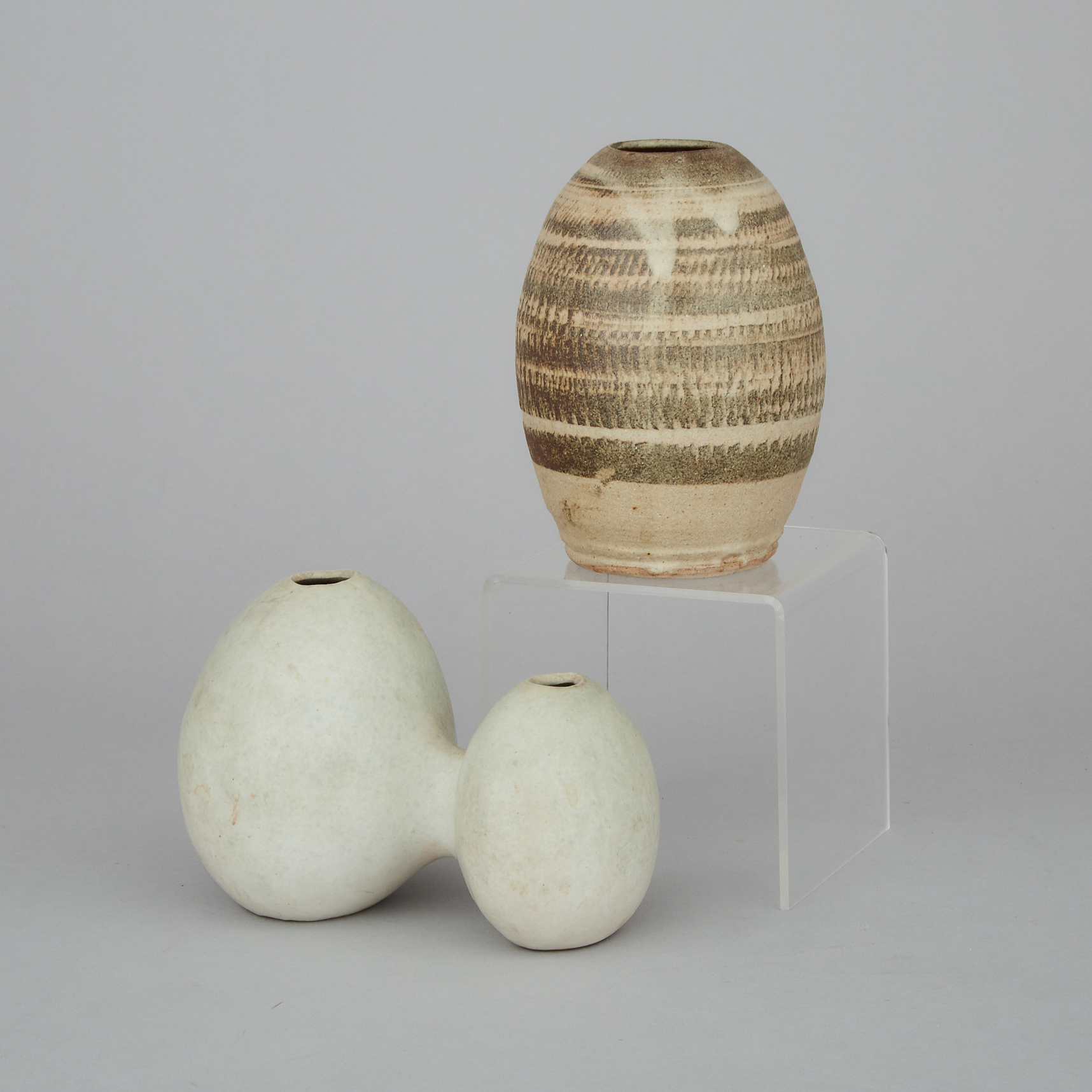 Two Small Ovoid Form Vases, Circa 1960