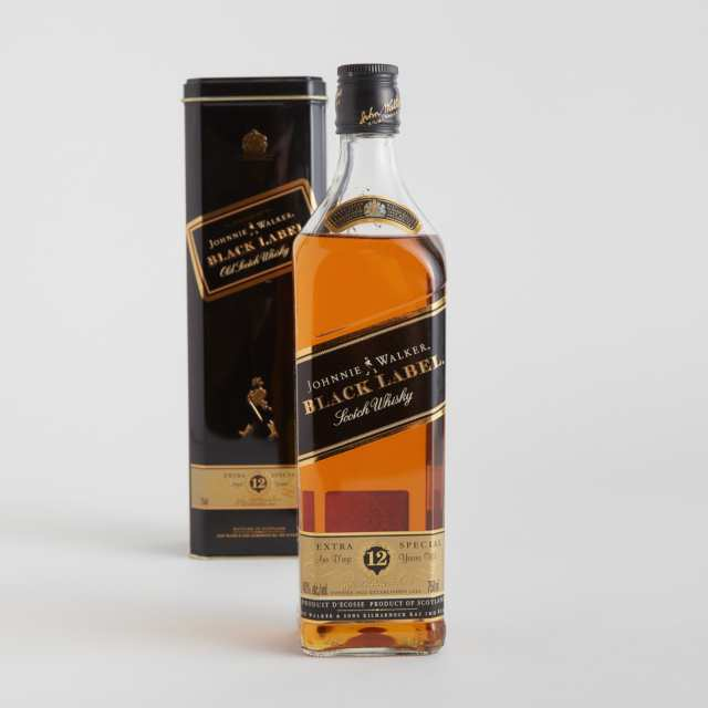 JOHNNIE WALKER BLACK LABEL BLENDED SCOTCH WHISKY 12 YEARS (ONE 750 ML)
