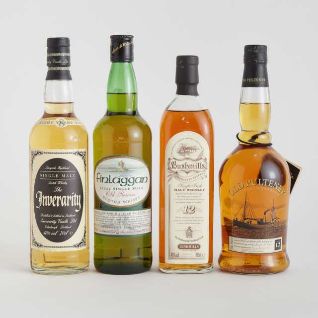 BUSHMILLS SINGLE IRISH MALT WHISKEY 12 YEARS (ONE 700 ML) FINLAGGAN ISLAY SINGLE MALT SCOTCH WHISKY NAS (ONE 750 ML) OLD PULTENEY SINGLE MALT SCOTCH WHISKY 12 YEARS (ONE 750 ML) THE INVERARITY SINGLE MALT SCOTCH WHISKY 8 YEARS (ONE 70 CL)