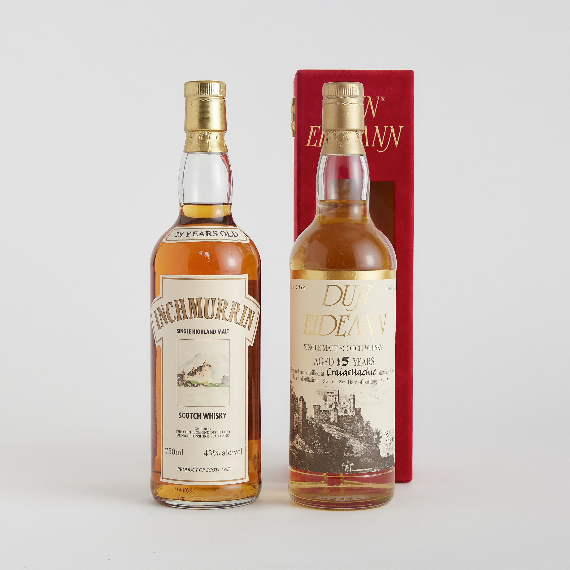 CRAIGELLACHIE SINGLE MALT WHISKY 15 YEARS (ONE 70 CL) INCHMURRIN SINGLE HIGHLAND MALT SCOTCH WHISKY 28 YEARS (ONE 750 ML)