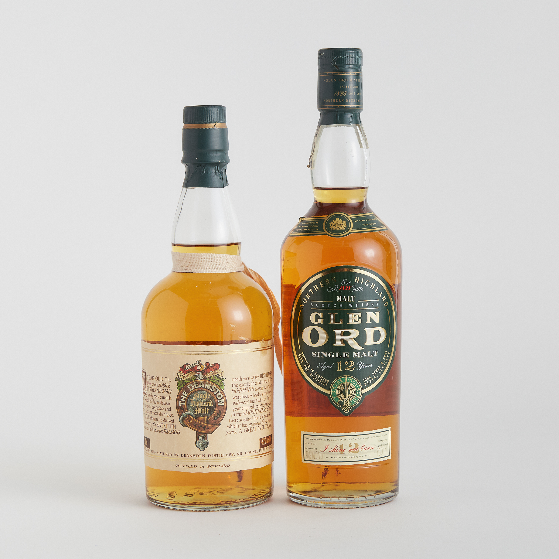 GLEN ORD SINGLE MALT SCOTCH WHISKY 12 YEARS (ONE 750 ML) THE DEANSTON SINGLE HIGHLAND MALT SCOTCH WHISKY 17 YEARS (ONE 750 ML)