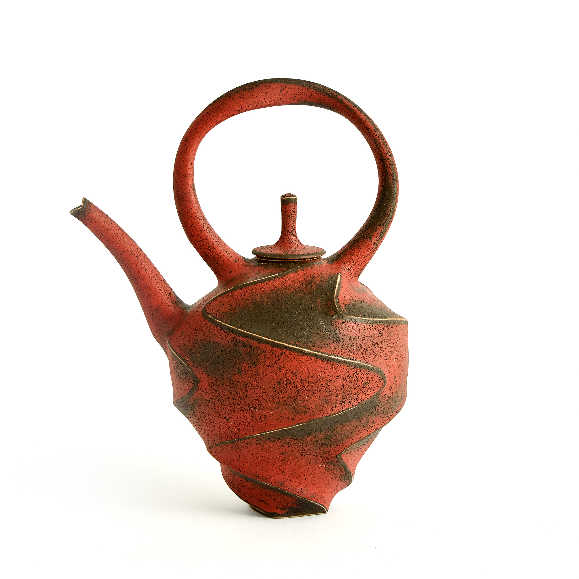 Jim Connell (American, b.1951), Red and Black Stoneware Teapot, 2008