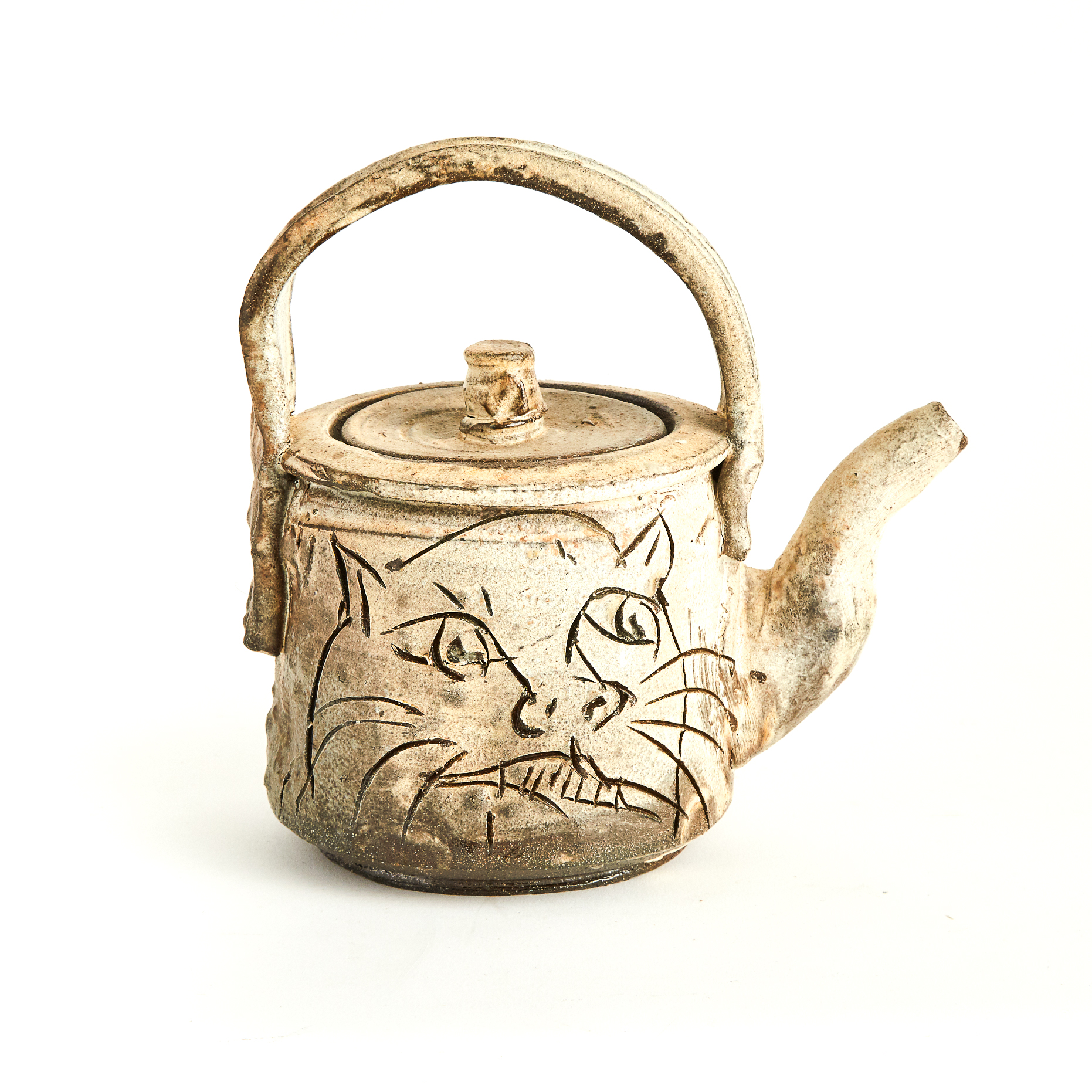 Ron Meyers (American, b.1934), Stoneware Teapot with Woman and Cat, c.2010