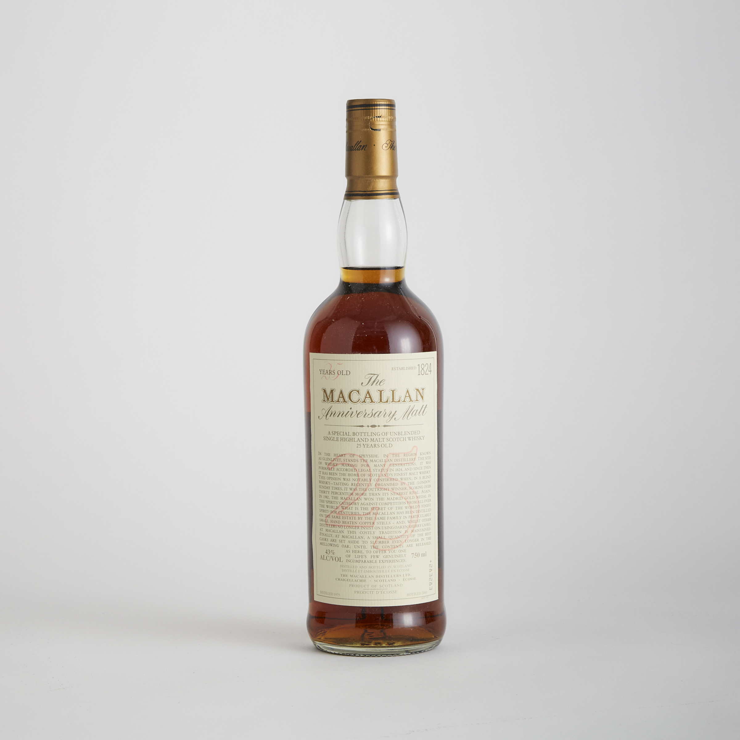 THE MACALLAN 25 YEAR ANNIVERSARY SINGLE HIGHLAND MALT SCOTCH WHISKY 25 YEARS (ONE 750 ML)