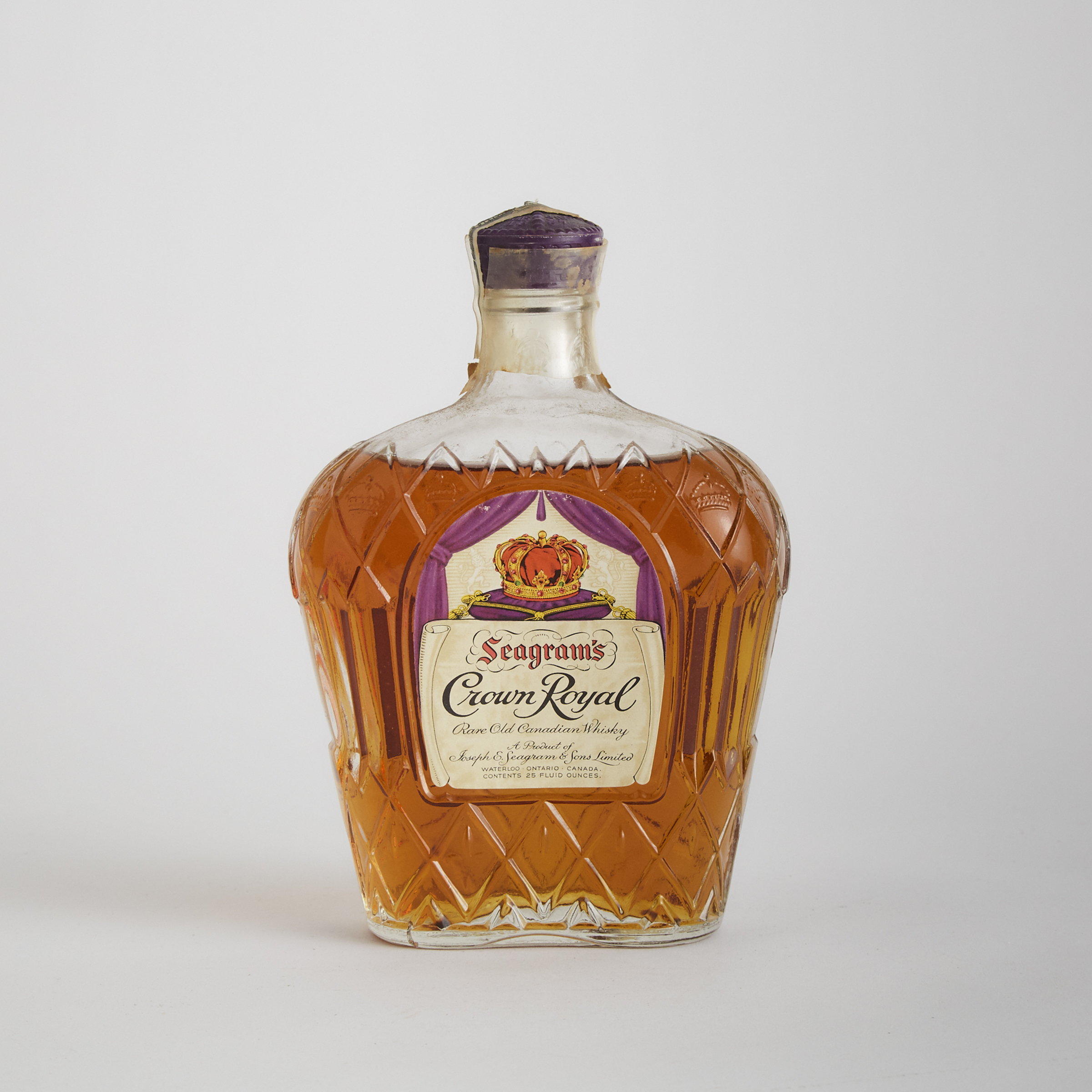 SEAGRAM'S CROWN ROYAL RARE OLD CANADIAN WHISKY (ONE 25 OZ)