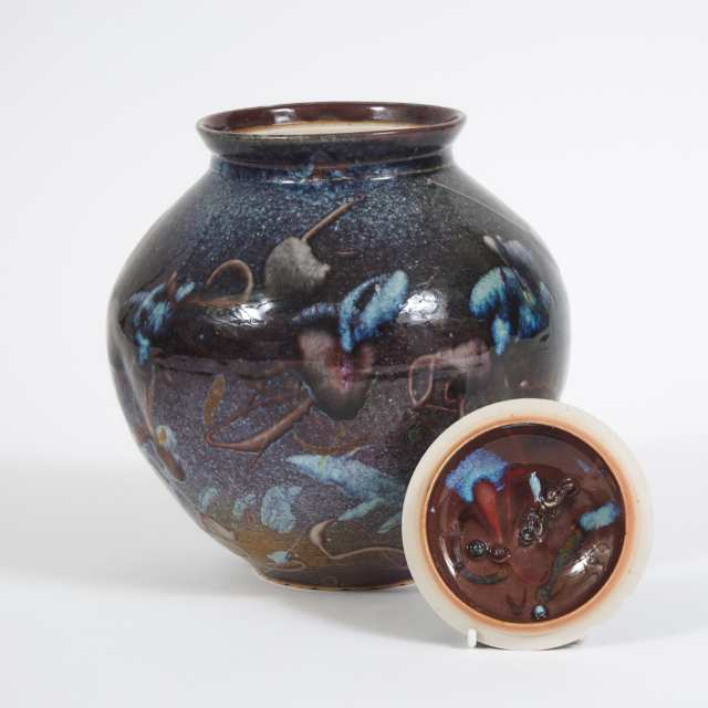Kayo O'Young (Canadian, b.1950), Blue and Purple Glazed Covered Vase, 1993