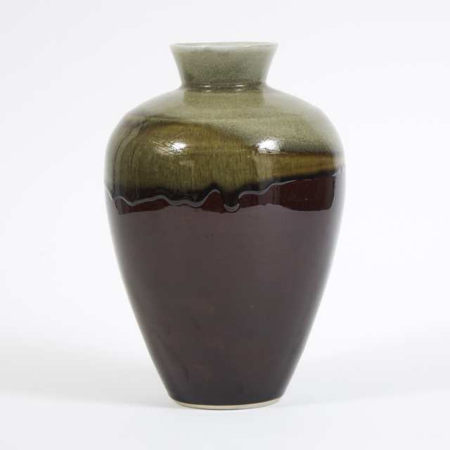 Harlan House (Canadian, b.1943), Grey and Brown Glazed Vase, 1994