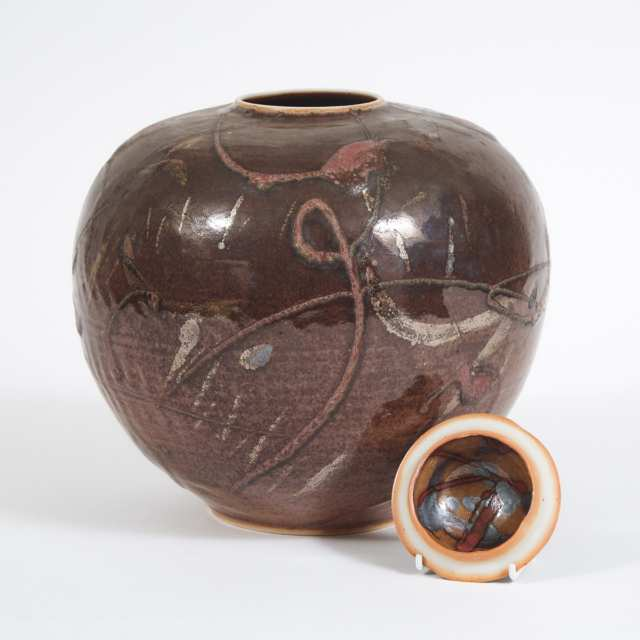 Kayo O'Young (Canadian, b.1950), Dark Brown Glazed Covered Vase, 1993