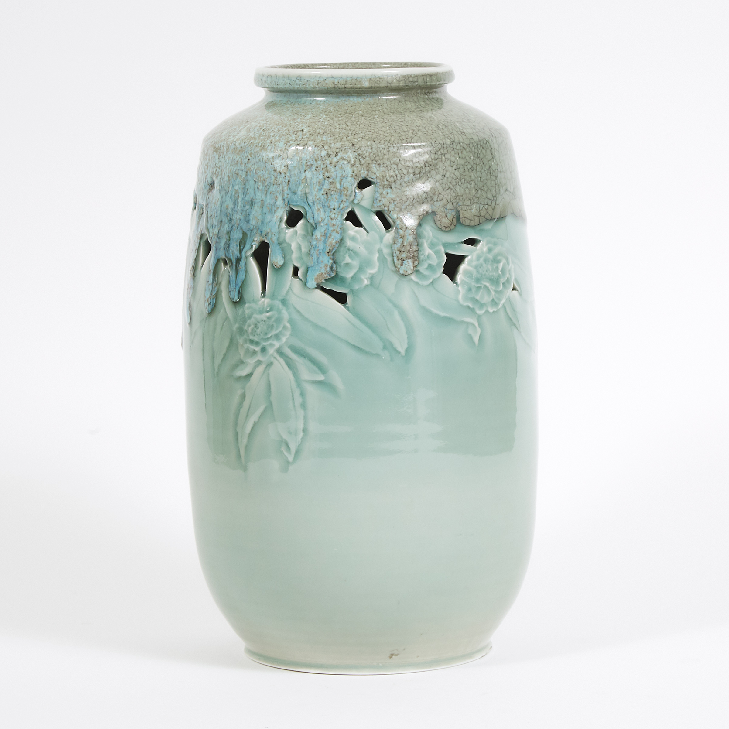 Harlan House (Canadian, b.1943), Pierced and Moulded Celadon Glazed Vase, 1993