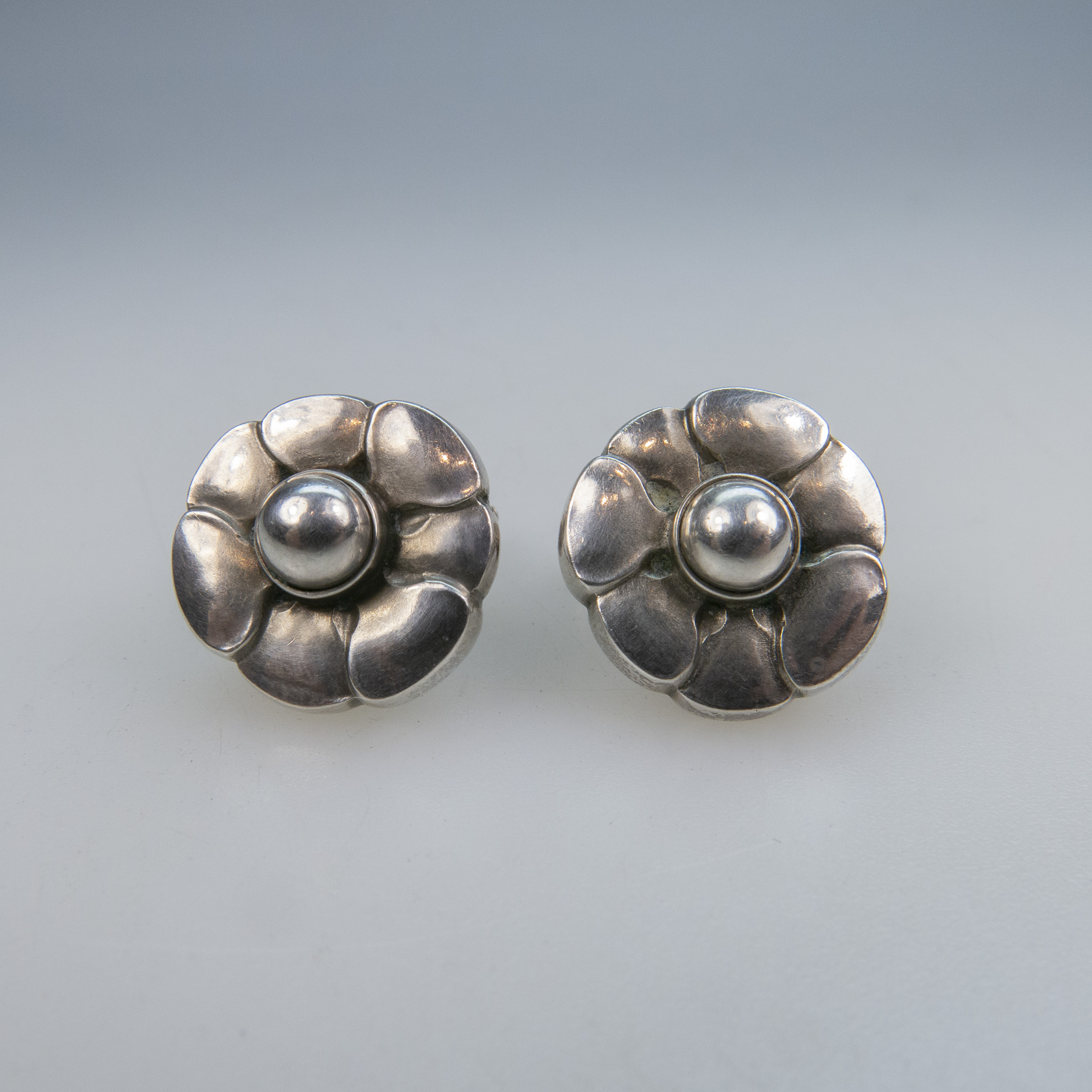 Pair Of Georg Jensen Danish Sterling Silver Screwback Earrings