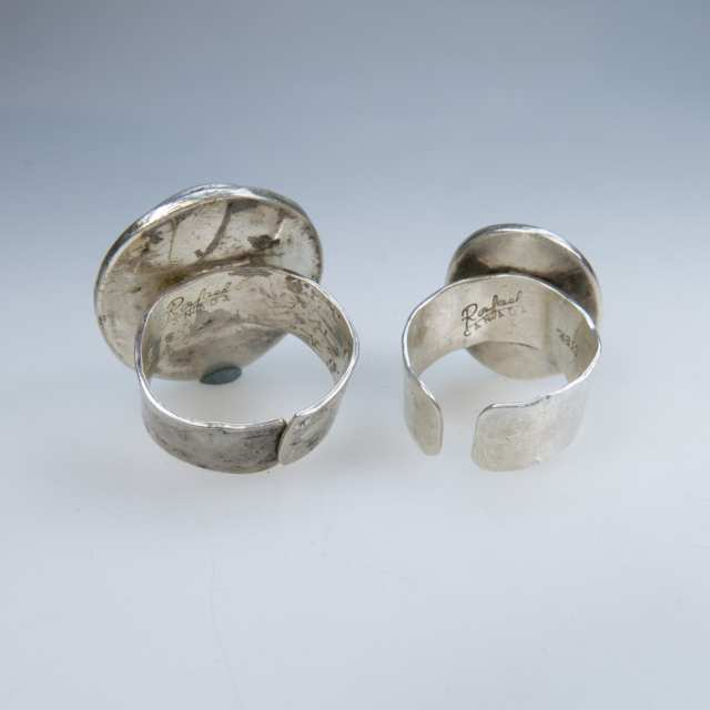 Two Rafael Alfandary Sterling Silver Rings