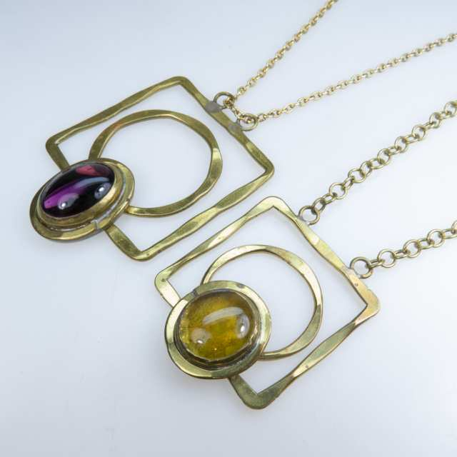 Two Rafael Alfandary Brass Necklaces
