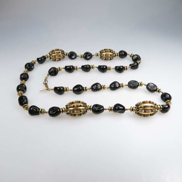 Miriam Haskell Brass And Black Glass Bead Necklace