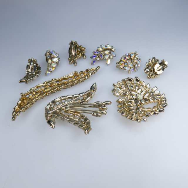 Three Sherman Gold Tone Metal Brooches And Three Pairs Of Clip-Back Earrings